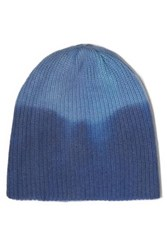 The Elder Statesman Watchman Ribbed Tie Dyed Cashmere Beanie Blue