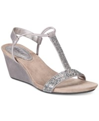 Styleandco. Style Co Mulan 2 Embellished Evening Wedge Sandals Created For Macy's Women's Shoes Gunmetal Grey