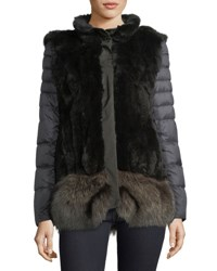 Post Card Ortles Two Piece Fur Vest And Quilted Puffer Jacket Gray