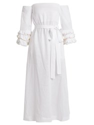 Lisa Marie Fernandez Ruffled Sleeve Off The Shoulder Linen Dress White Multi