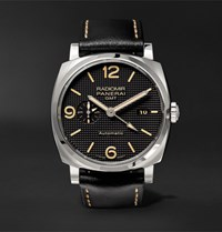 Officine Panerai Luminor 1950 8 Days Gmt Acciaio 44Mm Stainless Steel And Alligator Watch Black