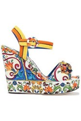 Dolce And Gabbana Woman Bianca Crystal Embellished Printed Jacquard Wedge Sandals Ivory