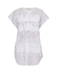 Cedric Charlier Frayed Pinstriped Cotton Top White