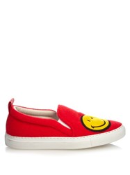 Joshua Sanders Smiley Felt Slip On Trainers Red