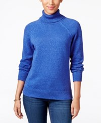 Karen Scott Petite Turtleneck Sweater Only At Macy's Havana Blue Marl