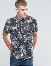 Native Youth Floral Print Short Sleeve Shirt Black