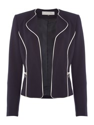 Tahari By Arthur S. Levine Asl Navy Piped Wing Collar Ponte Blazer Navy