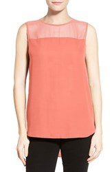 Women's Vince Camuto Chiffon Yoke Sleeveless Blouse Retro Coral