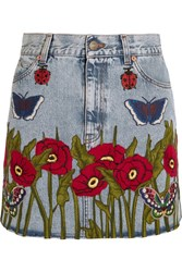 Gucci Appliqued Denim Mini Skirt Light Denim