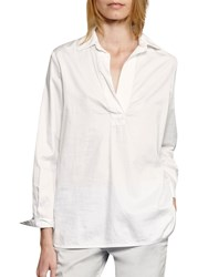 French Connection Oldenberg Stitch Long Sleeve Blouse Summer White