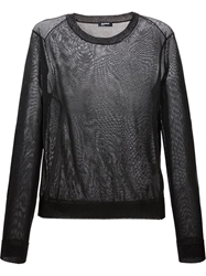 Jil Sander Navy Sheer Crew Neck Sweater Black