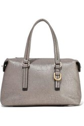 Rick Owens Woman Baby Metallic Cracked Leather Tote Silver