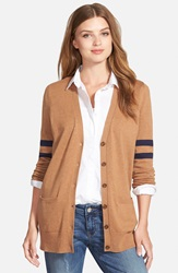Caslon 'Collegiate' V Neck Cardigan Heather Camel Navy Stripe