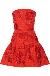 Oscar De La Renta Embellished Silk Mini Dress Tomato Red