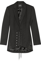 Anthony Vaccarello Lace Up Wool Blazer Black