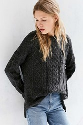 Bdg High Low Cable Crew Neck Sweater Charcoal