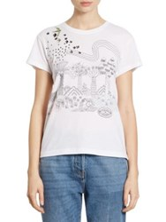 Valentino Garden Of Delight Embroidered Tee White
