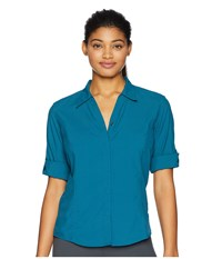 Royal Robbins Expedition Chill Stretch 3 4 Sleeve Top Blue Coral Long Sleeve Button Up