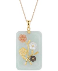 Macy's Jade Carved Flower Pendant Necklace 25X38mm In Gold Plated Sterling Silver No Color