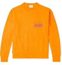 Aries Logo Print Fleece Back Cotton Jersey Sweatshirt Orange