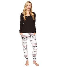 Bedhead French Terry Long Sleeve Hoodie And Jogger Pants Set Scottie Fair Isle Women's Pajama Sets White