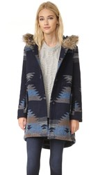 Bb Dakota Dalley Tribal Pattern Hooded Coat Navy