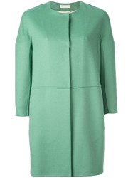 Max Mara 'S Three Quarters Sleeve Collarless Coat Green