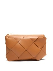 Bottega Veneta Maxi Pouch Intrecciato Leather Clutch Nude