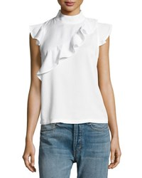 Chelsea And Theodore Short Sleeve Ruffled Mock Neck Top White