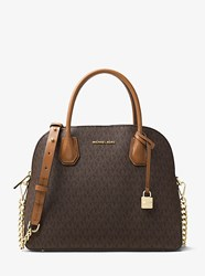 Michael Kors Studio Mercer Large Logo Dome Satchel Brown