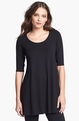 Petite Women's Eileen Fisher Scoop Neck Jersey Tunic Black