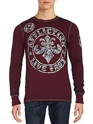 Affliction Cotton Long Sleeve T Shirt Burnt Red