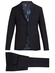 Valentino Notch Lapel Wool And Mohair Blend Suit Navy