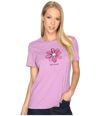 Life Is Good Daisy Crusher Tee Dusty Orchid Women's T Shirt White