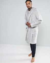 Asos Hooded Fleece Dressing Gown In Grey Grey