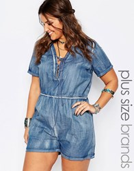 Alice And You Lace Up Chambray Romper Blue