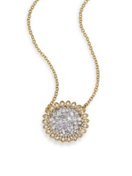 Plev Ice Diamond And 18K Yellow Gold Mini Flower Pendant Necklace
