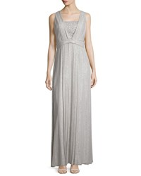 Kay Unger New York Sleeveless Sequin Front Pleated Gown Silver