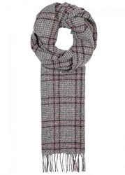 Johnstons Of Elgin Grey Windowpane Cashmere Scarf Charcoal