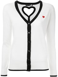 Love Moschino Contrast Piping Cardigan White