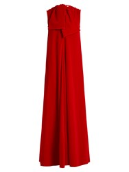 Maison Rabih Kayrouz Sleeveless Neck Tie Cotton Velvet Gown Dark Red