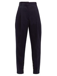 Acne Studios Buttoned Hem Tapered Leg Twill Trousers Navy