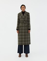 Alexachung Tailored And Belted Overcoat Khaki Blue Off White