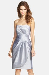 Women's Alfred Sung Wrapped Strapless Satin Dress French Grey