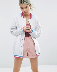 Asos Bomber With Sparkly Tipping Gray Marl