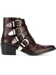 Toga Pulla Buckle Strap Boots Pink And Purple