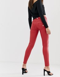 Freddy Wr.Up Shaping Effect Mid Rise Leather Skinny Jean Red
