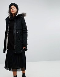 Parka London Classic With Faux Fur Lined Hood Black