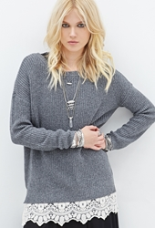 Forever 21 Layered Lace Crew Neck Sweater
