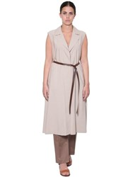Marina Rinaldi Sleeveless Viscose Twill Long Dust Coat Beige